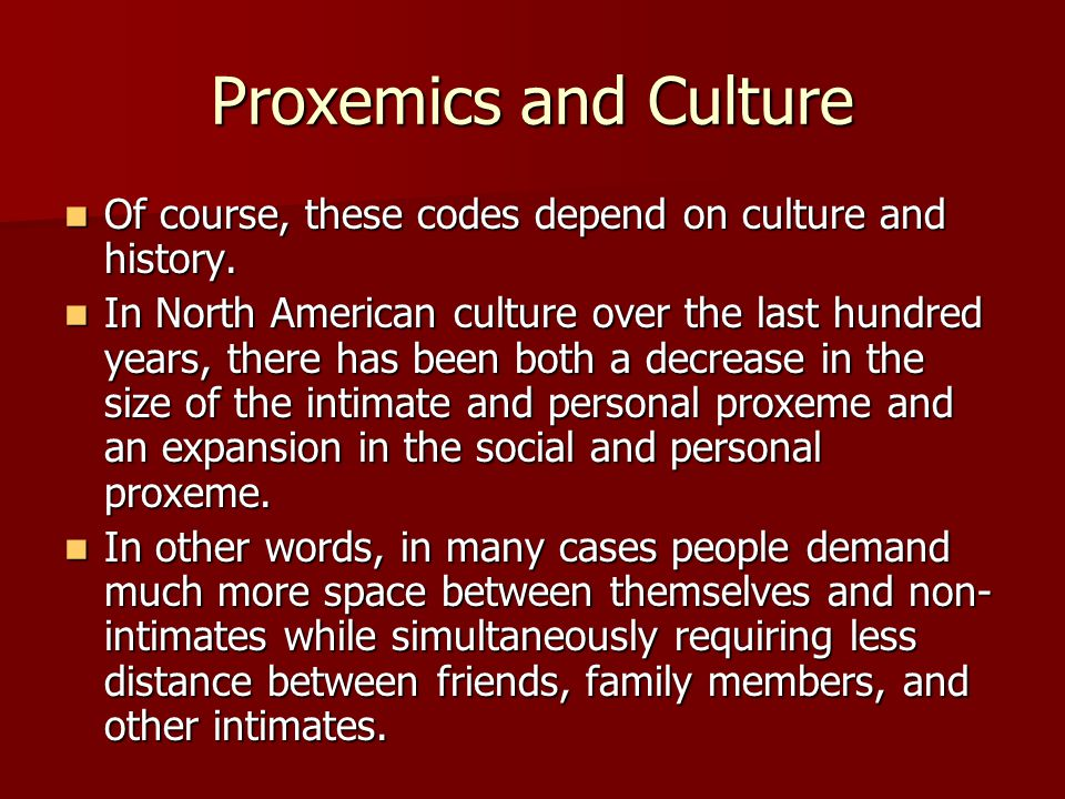 Proxemics and Culture Of course, these codes depend on culture and history.