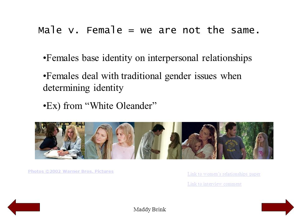 Male v. Female = we are not the same.