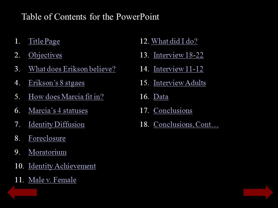 Table of Contents for the PowerPoint