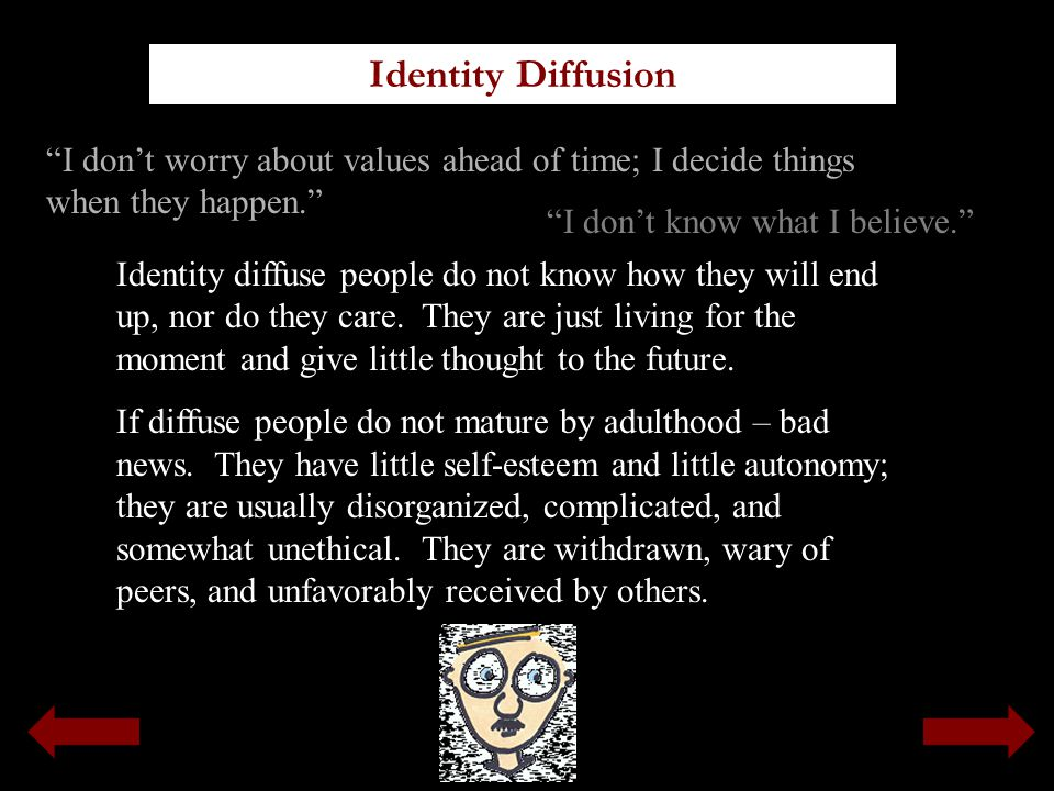 Identity Diffusion I don't worry about values ahead of time; I decide things when they happen. I don't know what I believe.