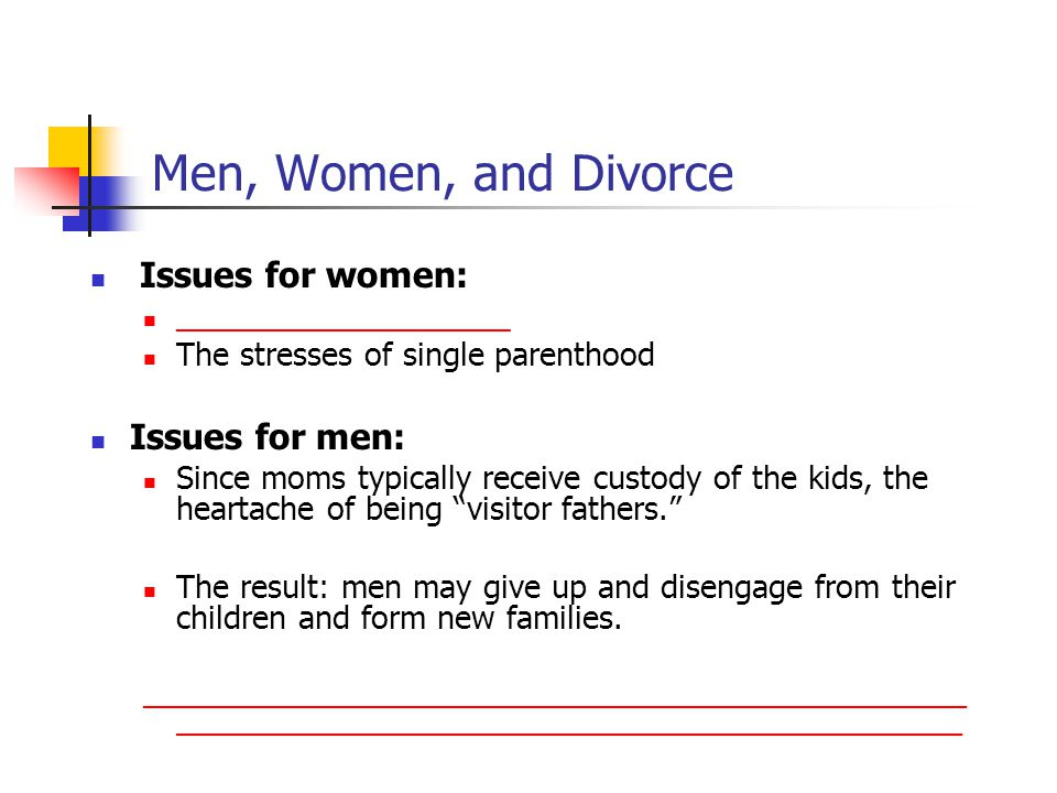 Men, Women, and Divorce Issues for women: Issues for men: