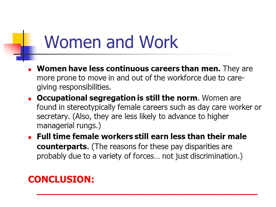 Women and Work CONCLUSION: ______________________________________