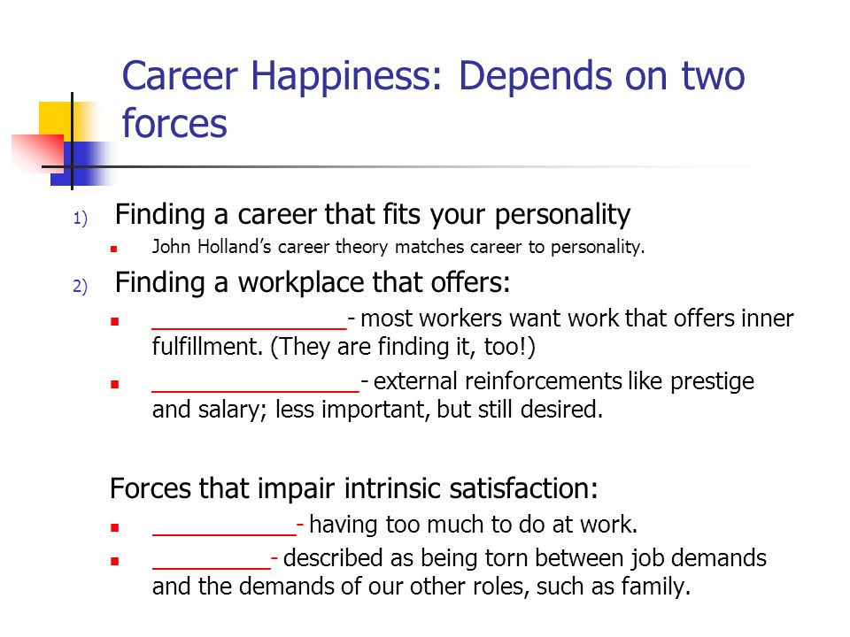 Career Happiness: Depends on two forces