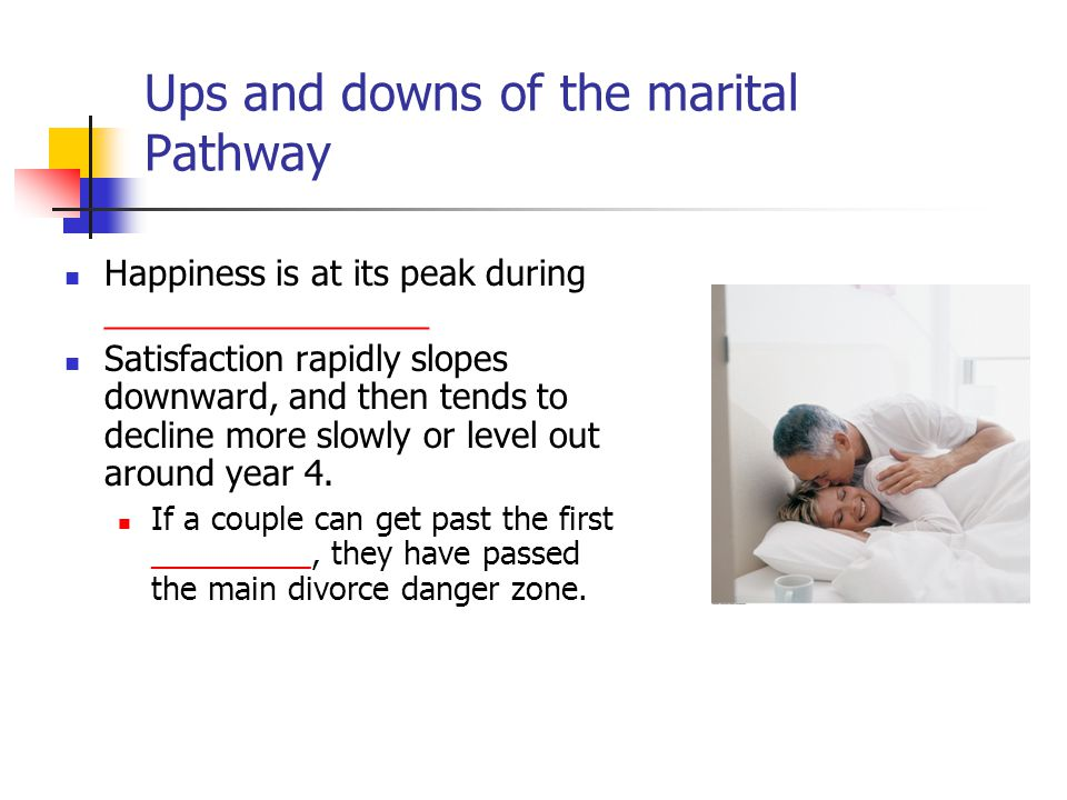 Ups and downs of the marital Pathway