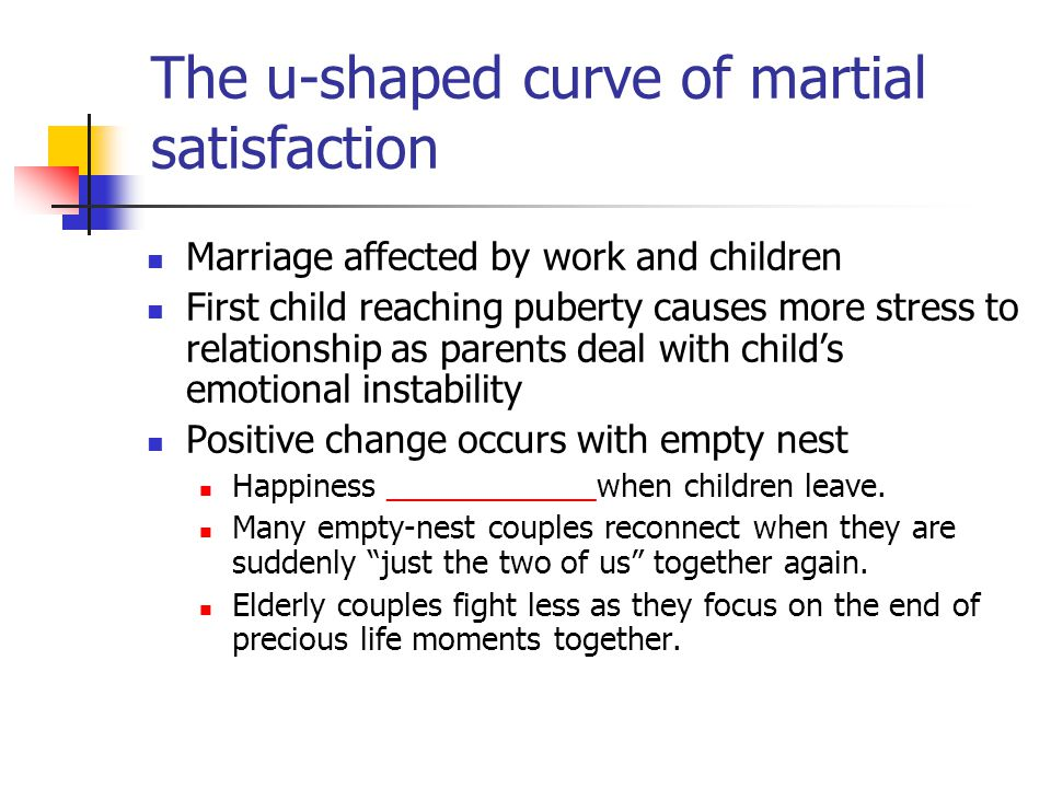 The u-shaped curve of martial satisfaction