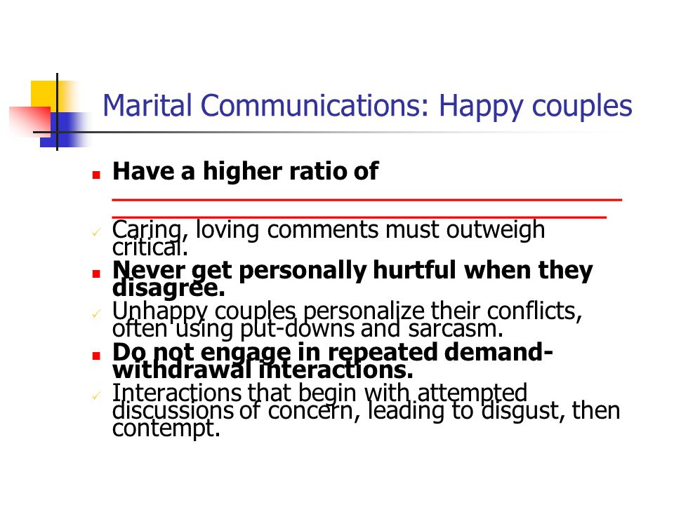 Marital Communications: Happy couples