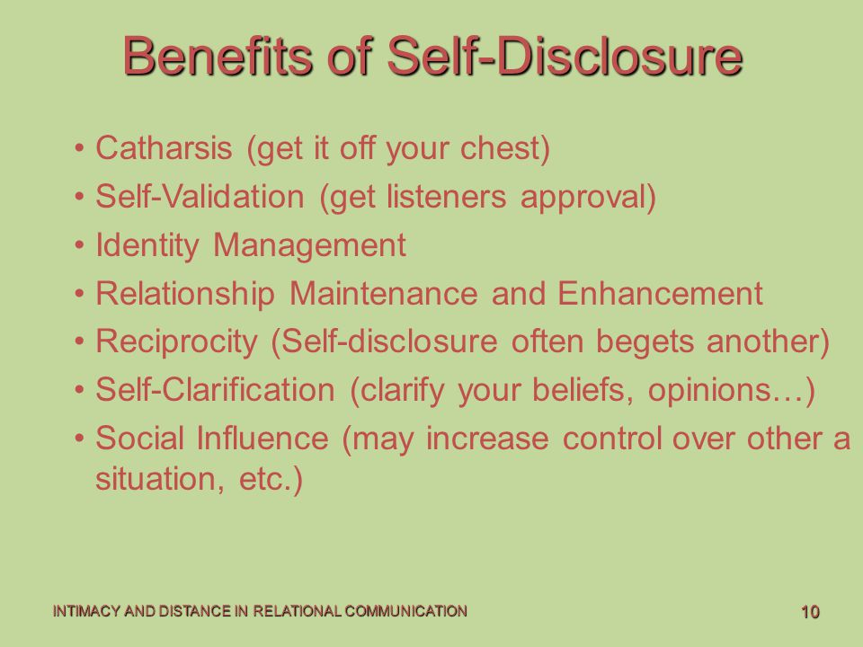 Benefits of Self-Disclosure