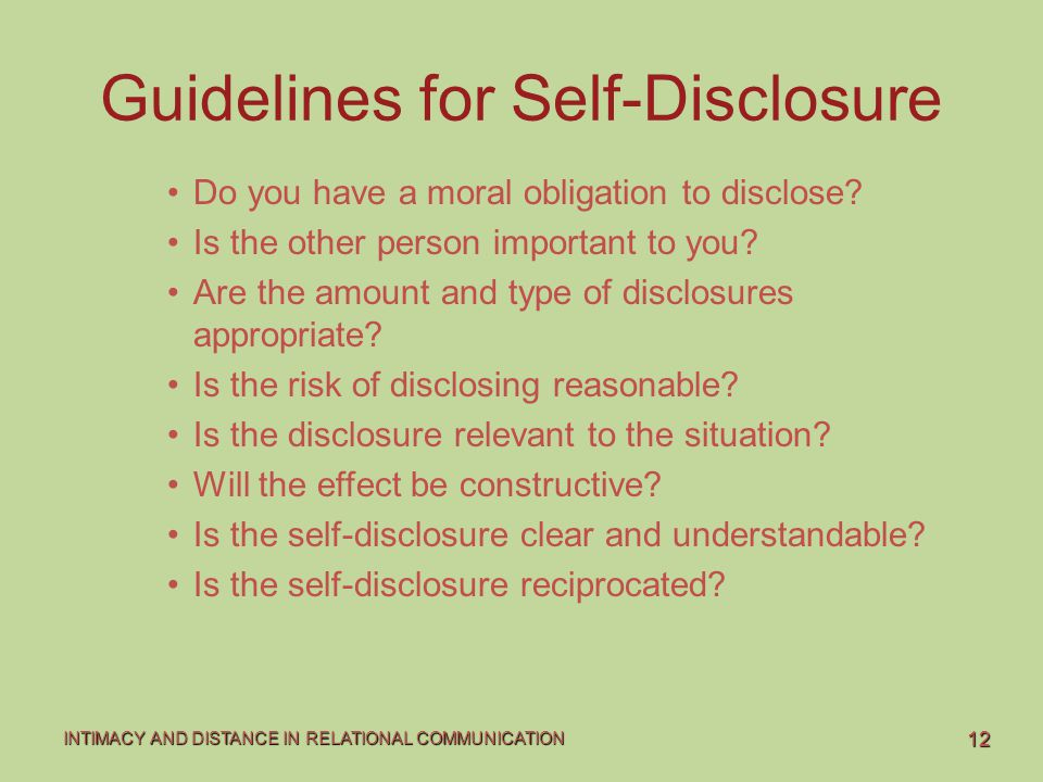 Guidelines for Self-Disclosure