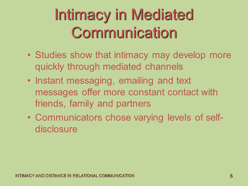 Intimacy in Mediated Communication