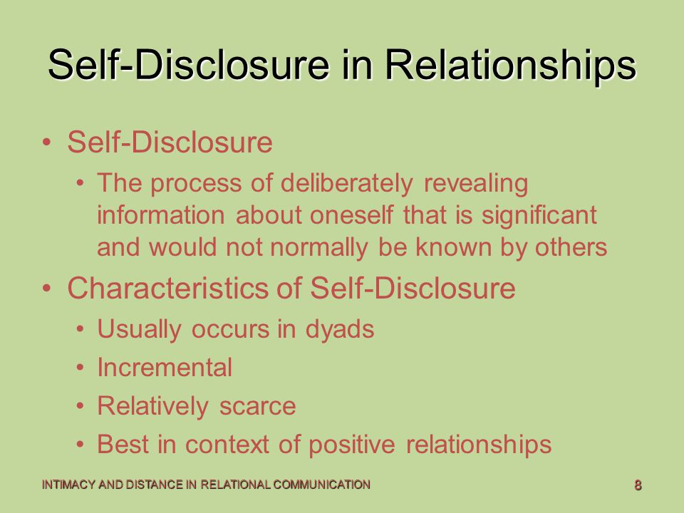 self disclosure and relationship