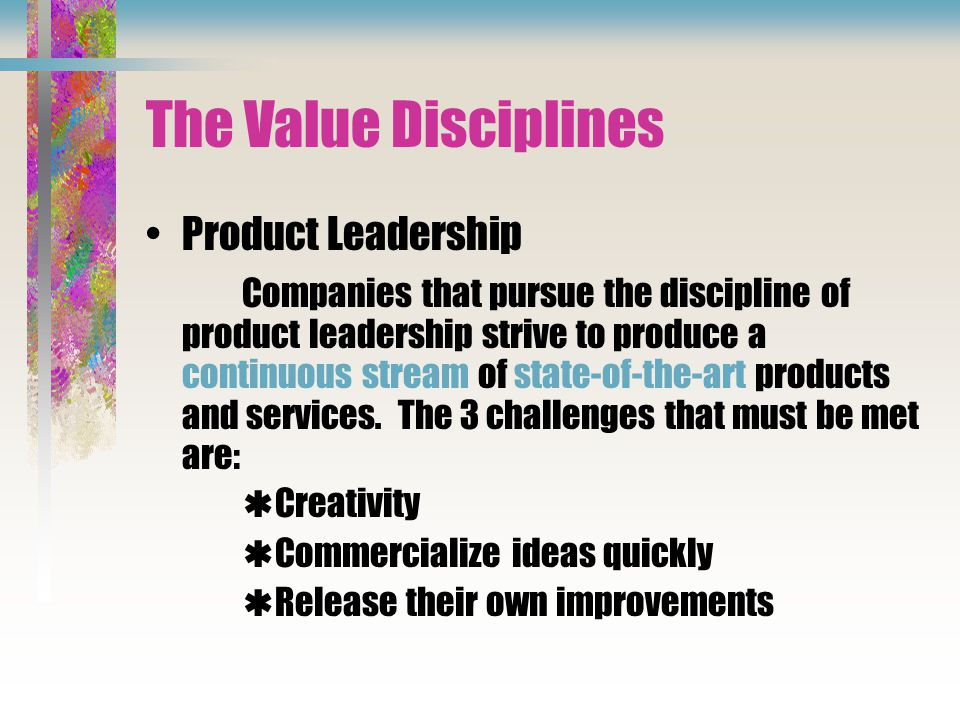 The Value Disciplines Product Leadership