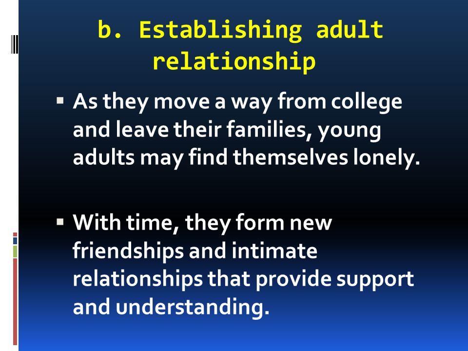b. Establishing adult relationship