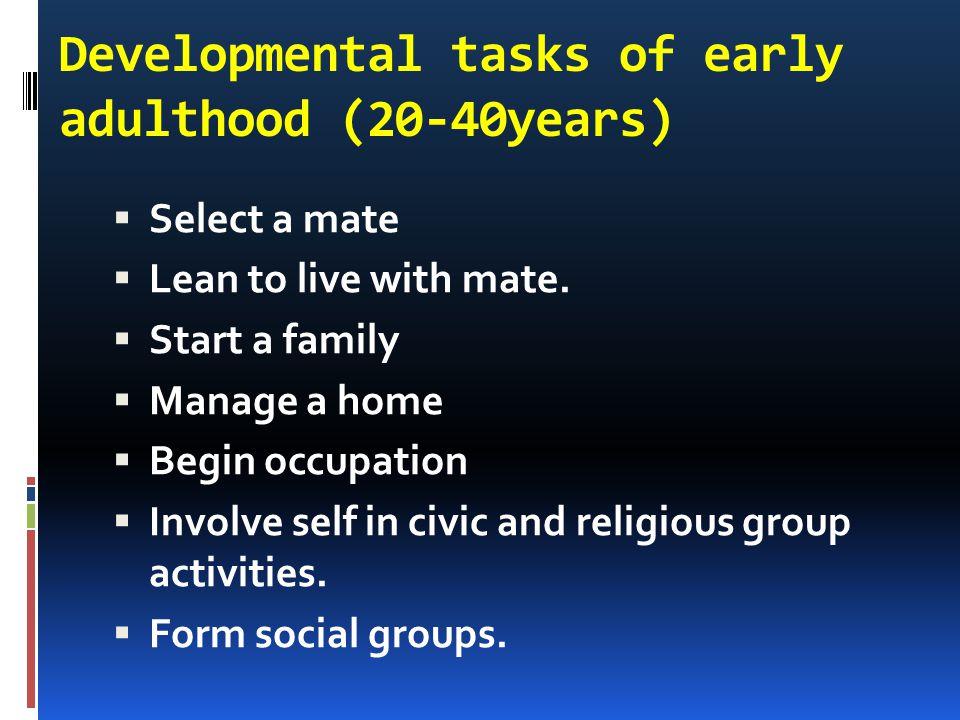 Developmental tasks of early adulthood (20-40years)