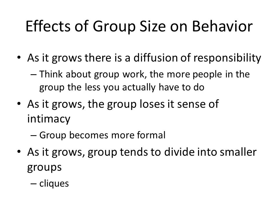 Effects of Group Size on Behavior