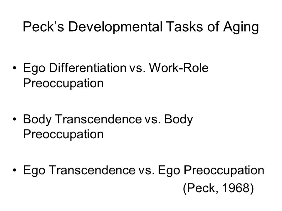Peck's Developmental Tasks of Aging