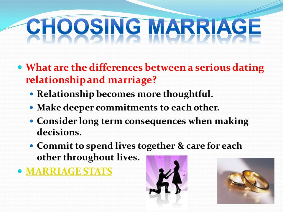 Choosing marriage What are the differences between a serious dating relationship and marriage Relationship becomes more thoughtful.
