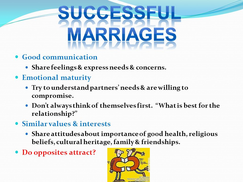 Successful marriages Good communication Emotional maturity