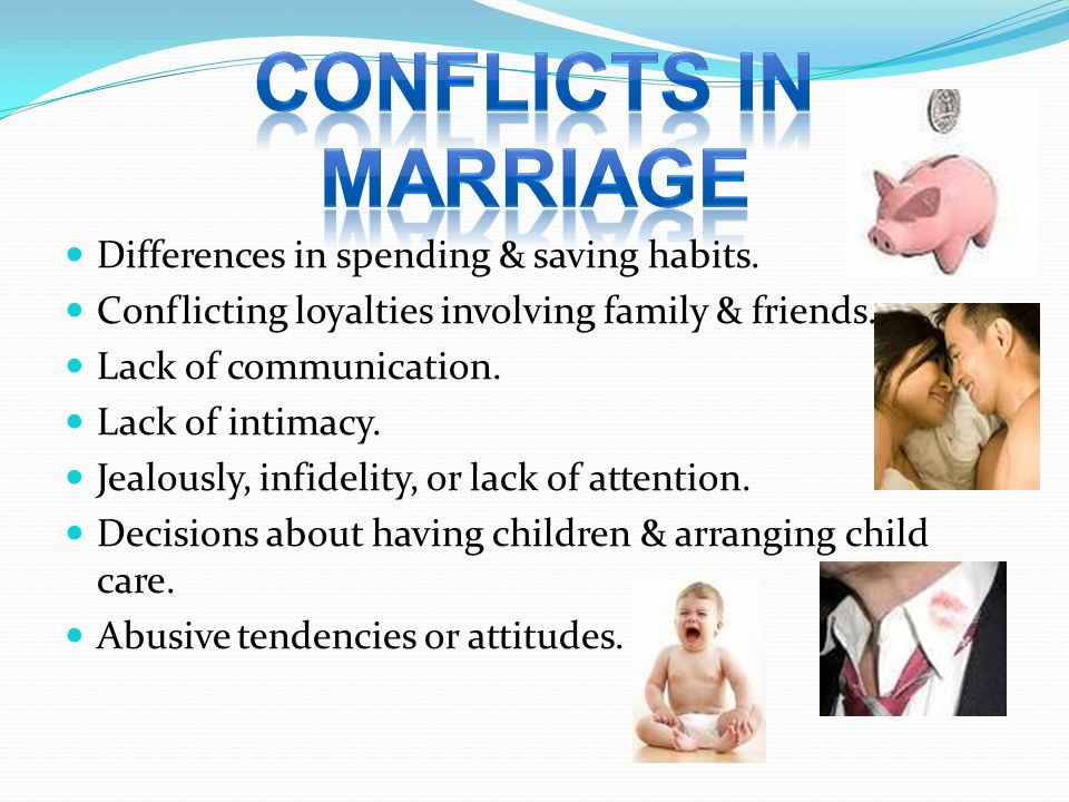 CONFLICTS IN MARRIAGE Differences in spending & saving habits.