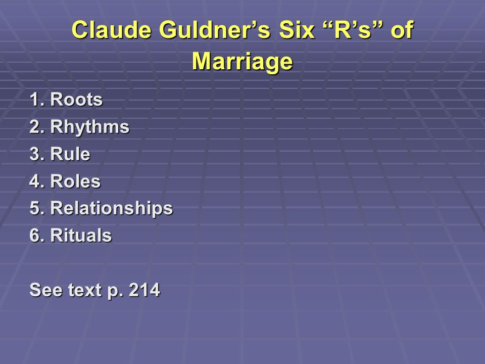 Claude Guldner's Six R's of Marriage