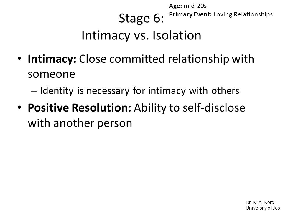 Stage 6: Intimacy vs. Isolation