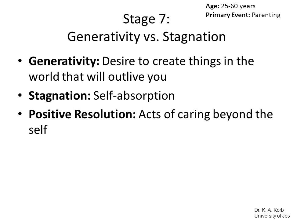 Stage 7: Generativity vs. Stagnation