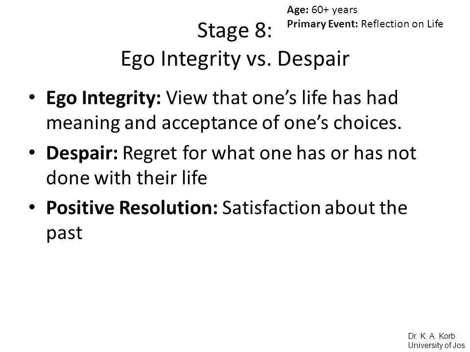 Integrity vs Despair in Psychosocial Development