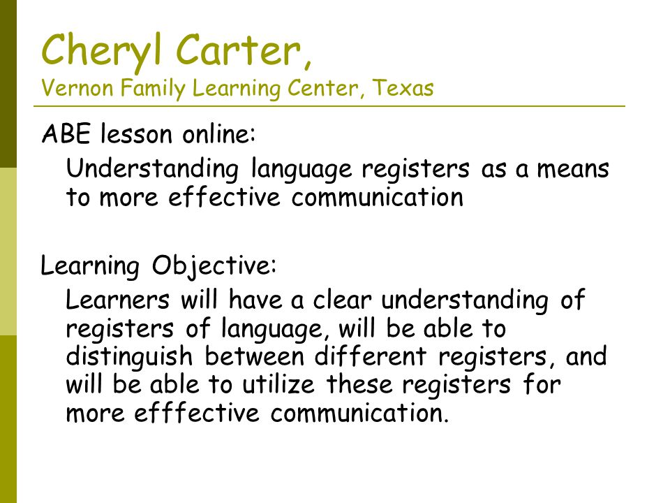 Cheryl Carter, Vernon Family Learning Center, Texas