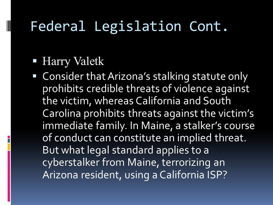 Federal Legislation Cont.