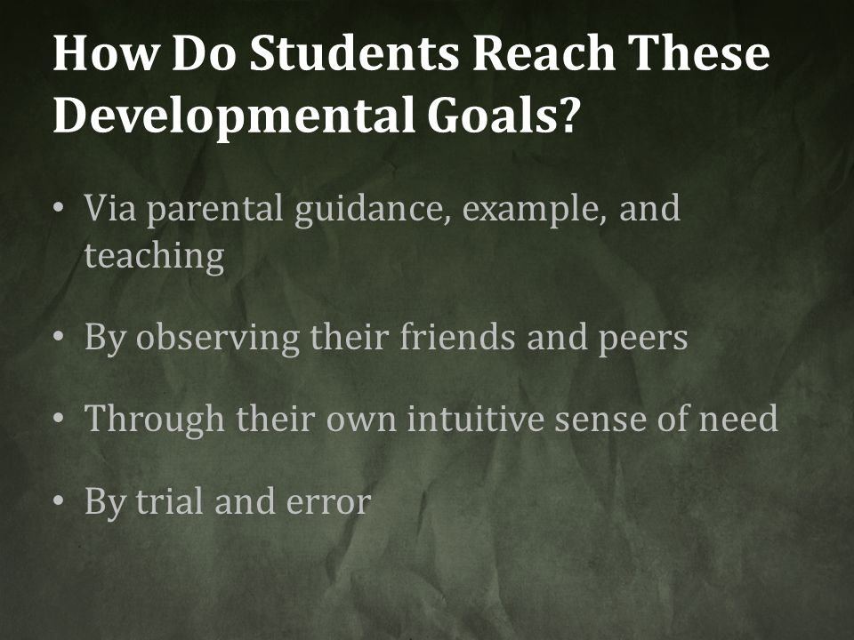 How Do Students Reach These Developmental Goals