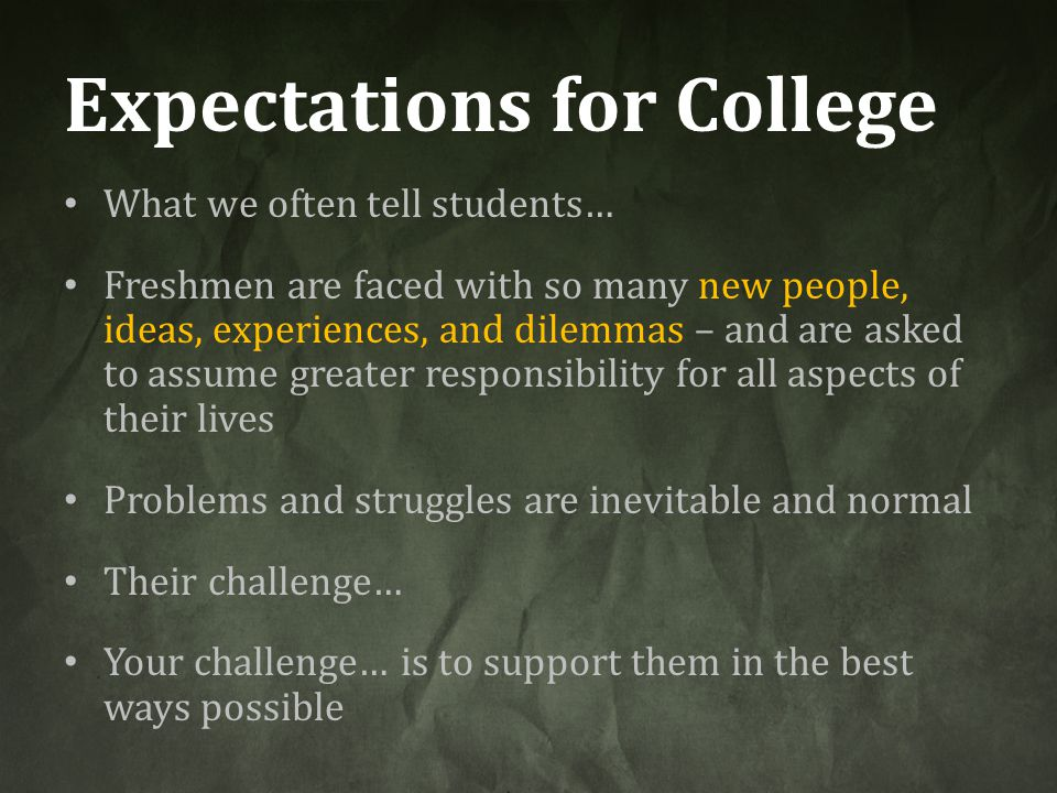 Expectations for College