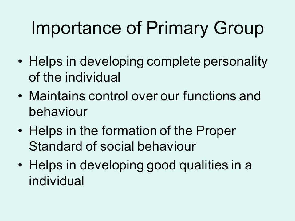 Importance of Primary Group