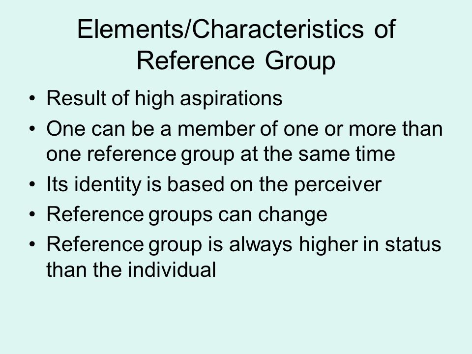Elements/Characteristics of Reference Group