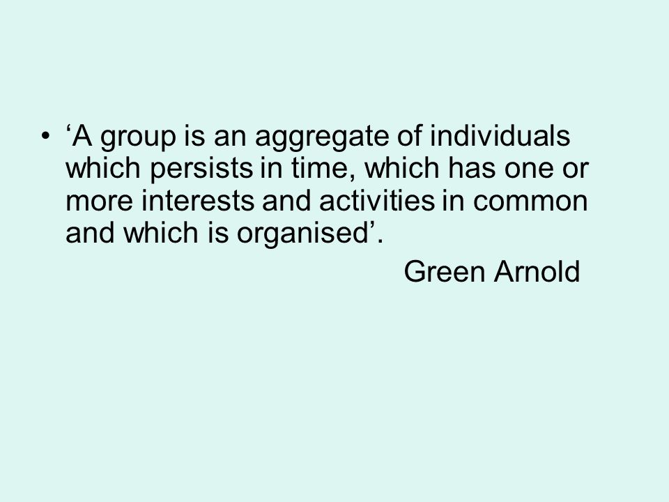 'A group is an aggregate of individuals which persists in time, which has one or more interests and activities in common and which is organised'.