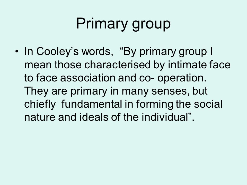 Primary group