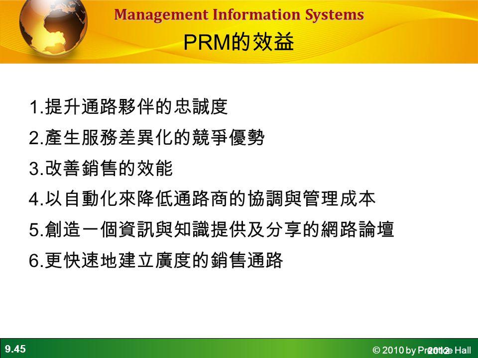 PRM的效益 1.提升通路夥伴的忠誠度 2.產生服務差異化的競爭優勢 3.改善銷售的效能 4.以自動化來降低通路商的協調與管理成本 5.創造一個資訊與知識提供及分享的網路論壇 6.更快速地建立廣度的銷售通路