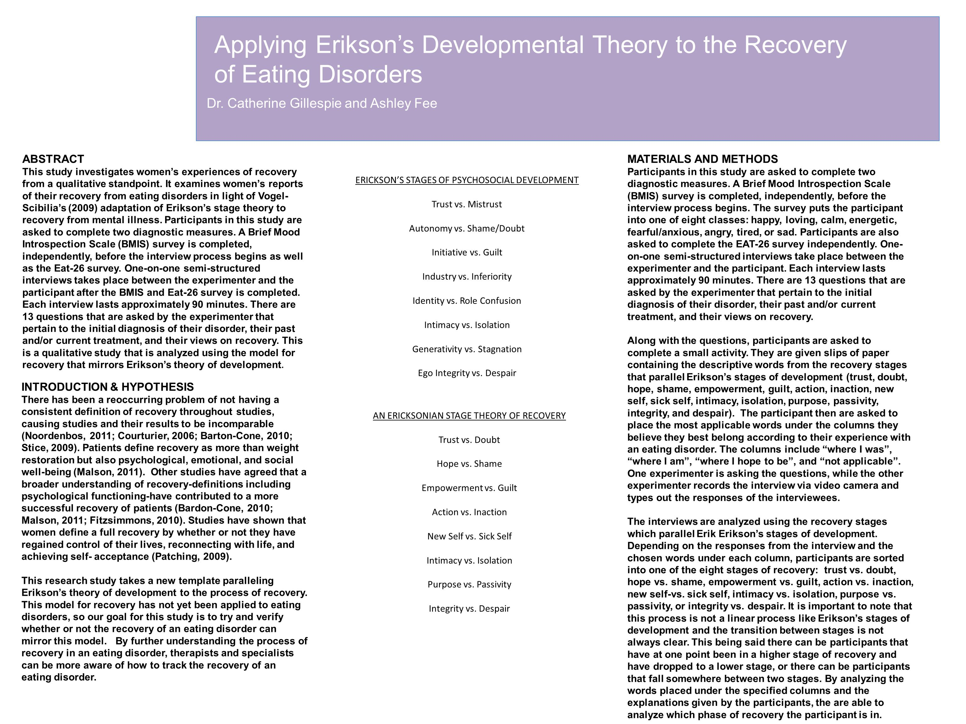 Applying Erikson's Developmental Theory to the Recovery of Eating Disorders