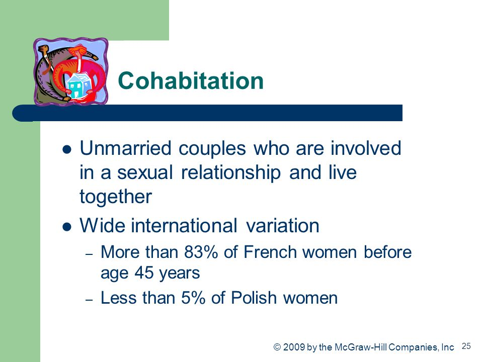 Cohabitation Unmarried couples who are involved in a sexual relationship and live together. Wide international variation.