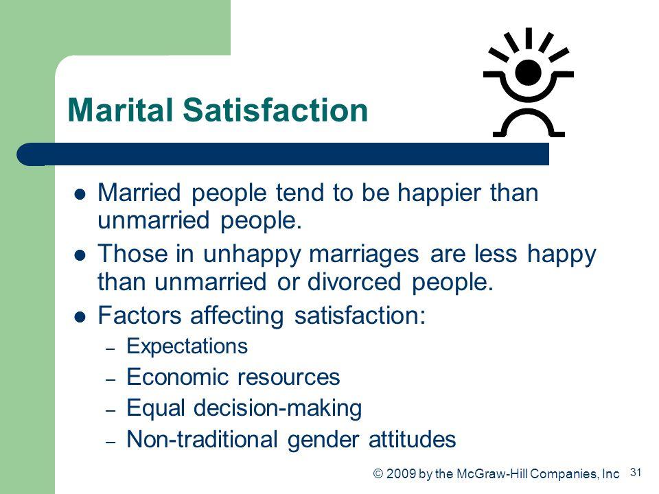 Marital Satisfaction Married people tend to be happier than unmarried people.