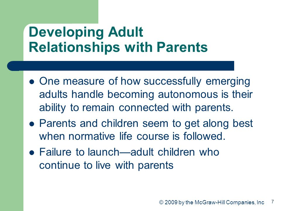 Developing Adult Relationships with Parents