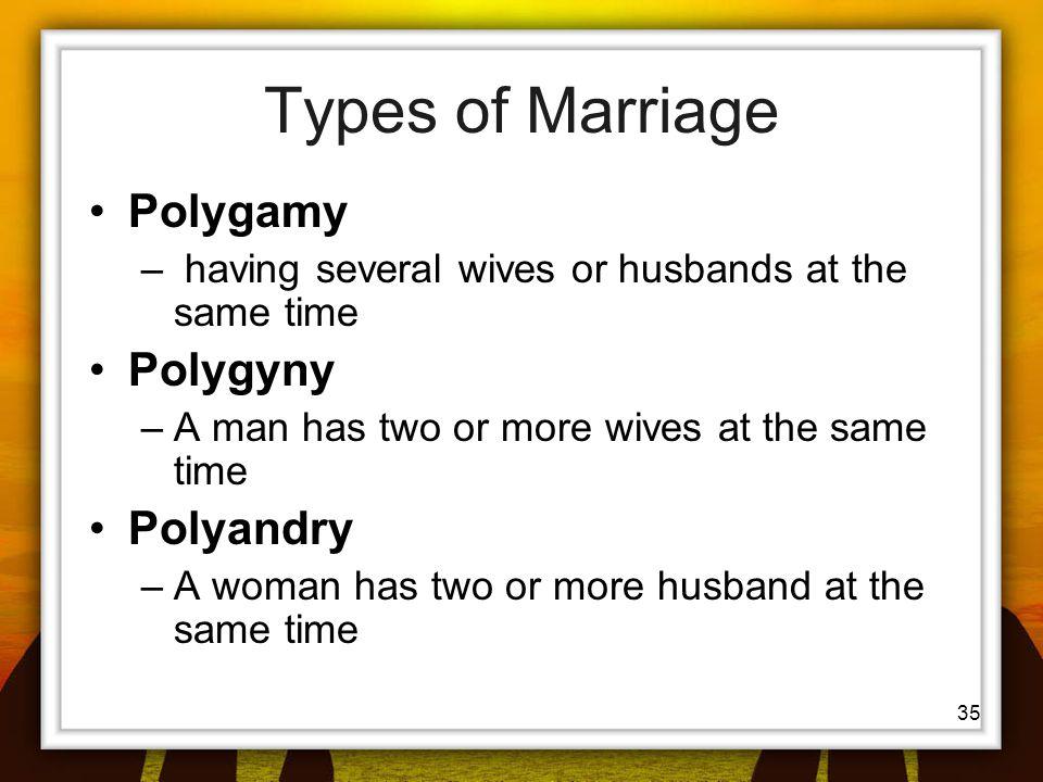 Types of Marriage Polygamy Polygyny Polyandry