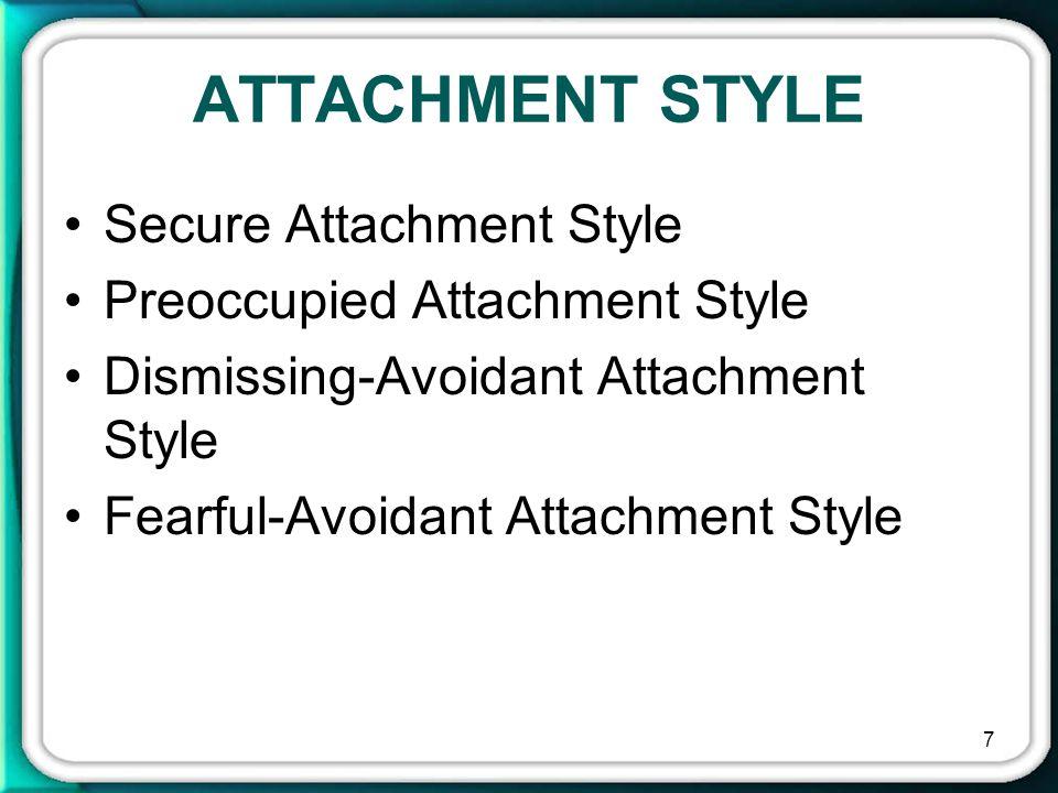 ATTACHMENT STYLE Secure Attachment Style Preoccupied Attachment Style