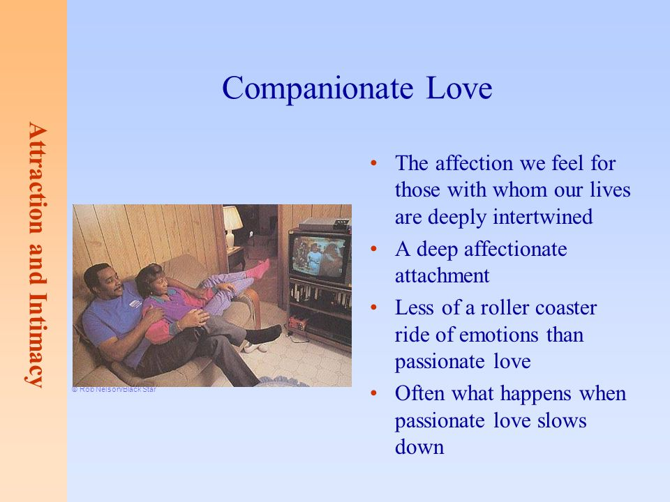Companionate Love The affection we feel for those with whom our lives are deeply intertwined. A deep affectionate attachment.