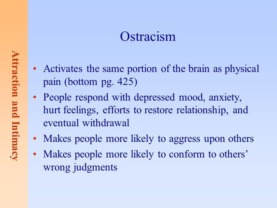 Ostracism Activates the same portion of the brain as physical pain (bottom pg. 425)