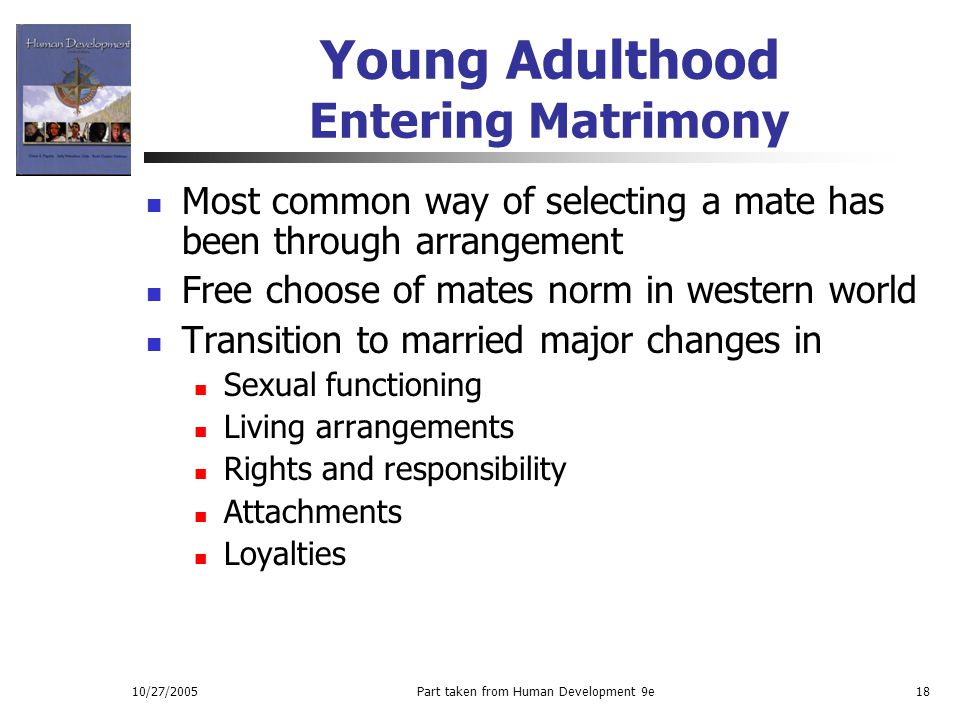 Young Adulthood Entering Matrimony