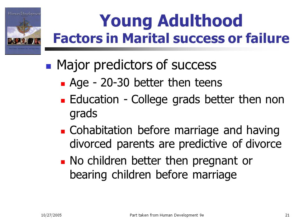 Young Adulthood Factors in Marital success or failure