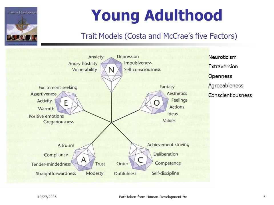 Young Adulthood Trait Models (Costa and McCrae's five Factors)
