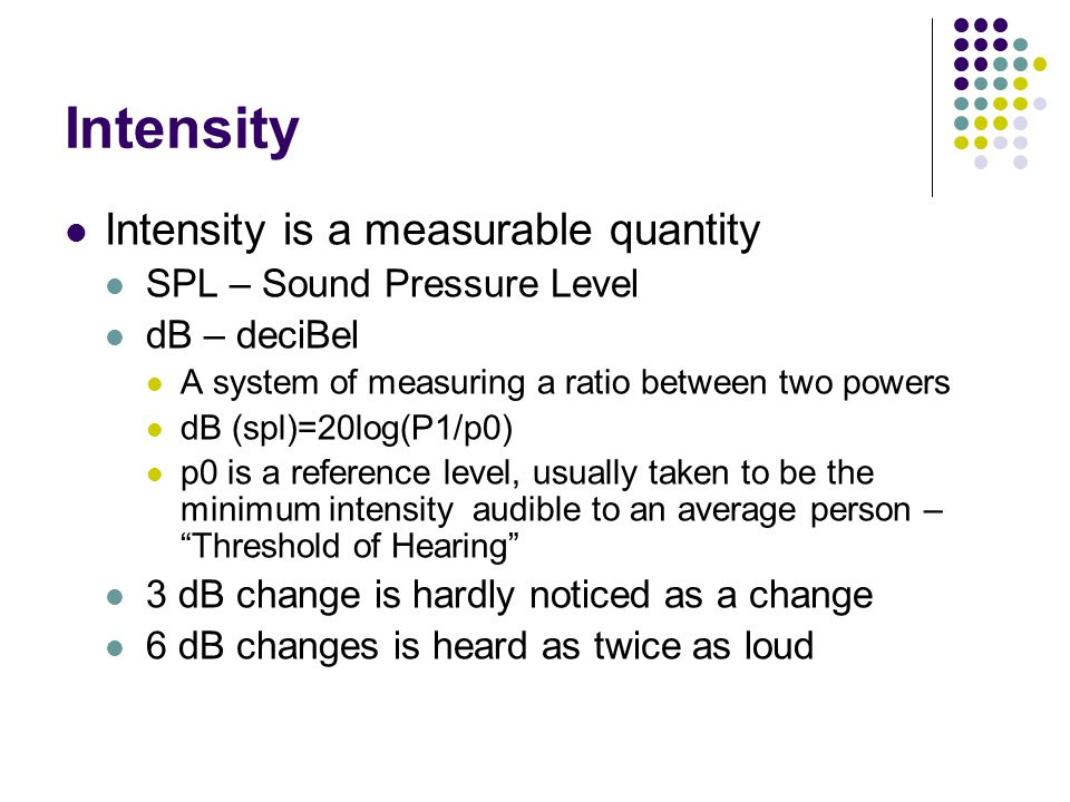 Intensity Intensity is a measurable quantity