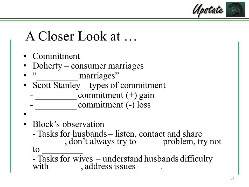 Upstate A Closer Look at … Commitment Doherty – consumer marriages