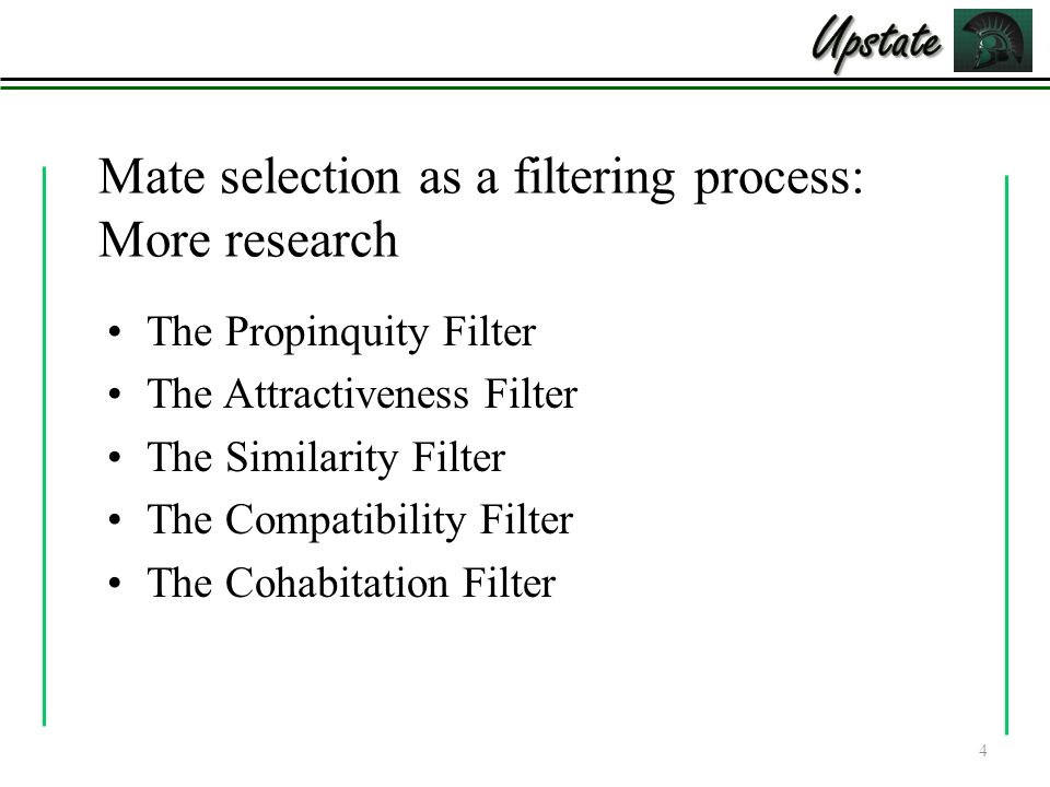 Upstate Mate selection as a filtering process: More research