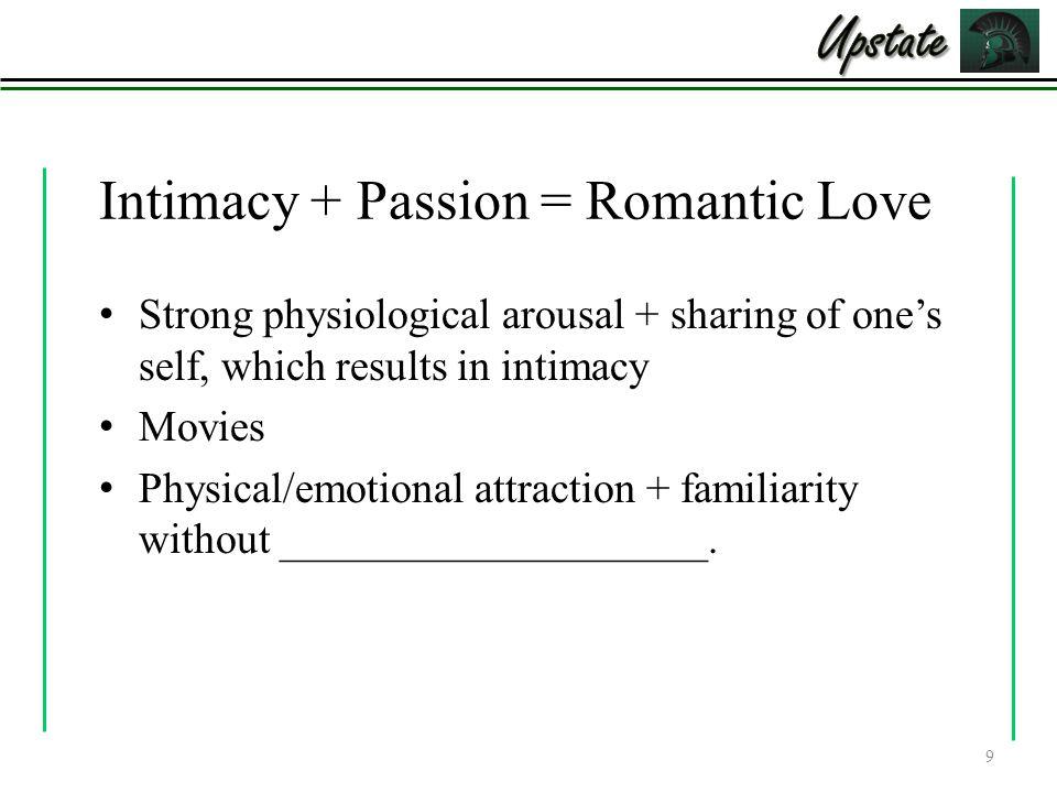 Intimacy + Passion = Romantic Love